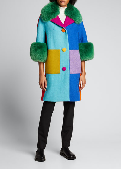 Wool Colorblock Fox Fur Trim Coat