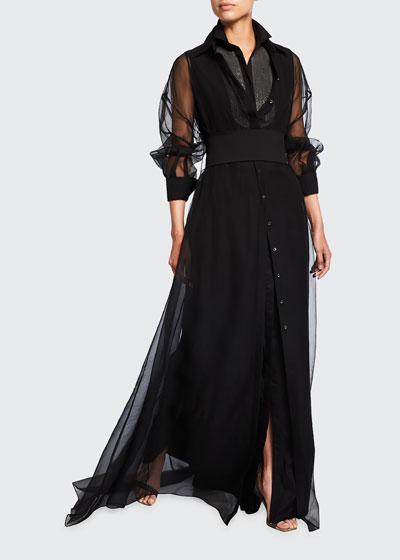 Monili Bib Silk over Cotton Belted Gown