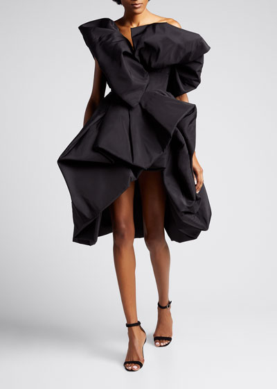 Exaggerated One-Shoulder Taffeta Cocktail Dress