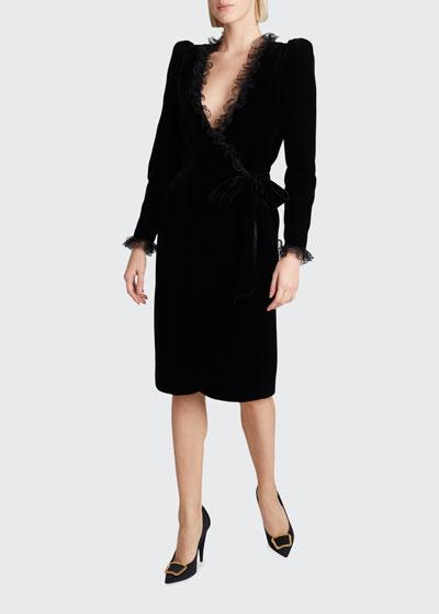 Velvet Lace-Trim Tie-Waist Wrap Dress
