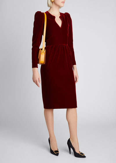 V-Neck Puff-Sleeve Velvet Dress