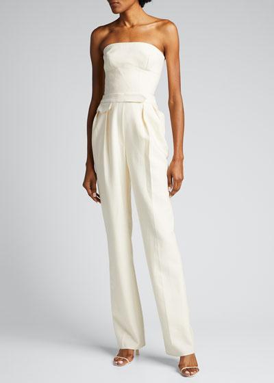 Silk Twill Fitted Straight-Leg Strapless Jumpsuit