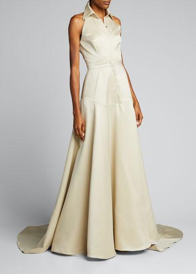 Wool-Silk Gazaar Collared Button-Front Gown