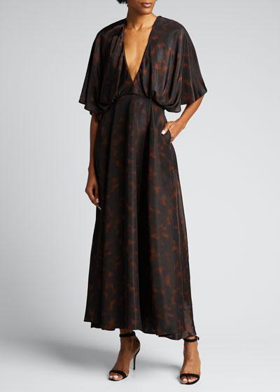 Tortoise-Print A-Line Maxi Dress