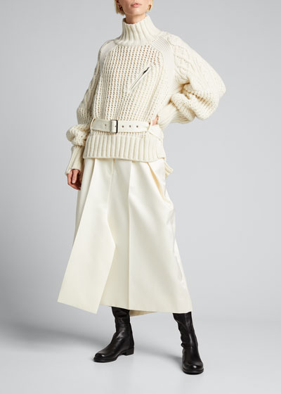 Turtleneck Wool Belted Sweater