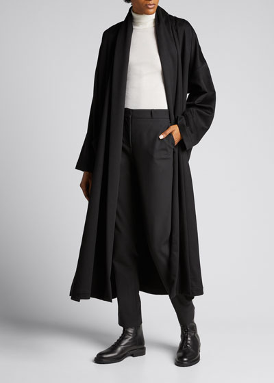Wide Shawl-Collar Cashmere Coat
