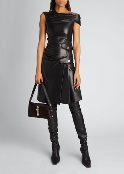One-Shoulder Leather Dress