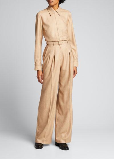 Vargas Wool-Cashmere High-Rise Pants