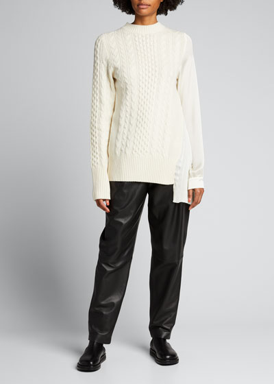 Wool Knit Pleated Panel Sweater