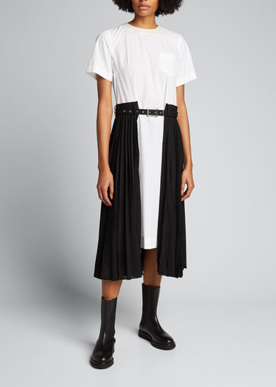 Poplin Half Pleated Shirtdress w/ Belt