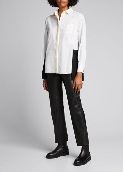 Contrast Tuxedo Paneled Blouse