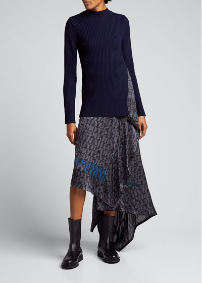 Wool Knit Pleated Girard Print Panel Sweater
