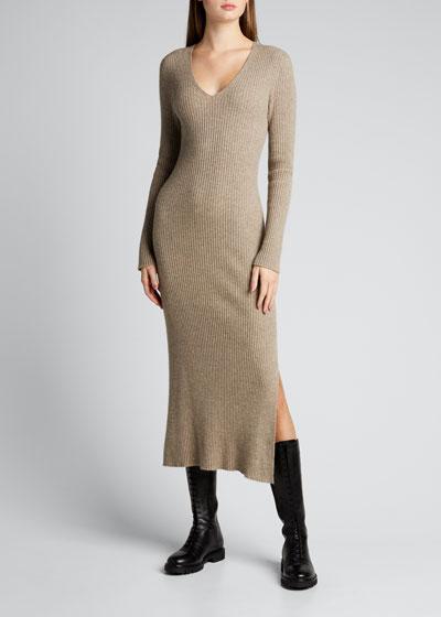 Rib-Knit Wool-Blend Midi Dress w/ Side Slit