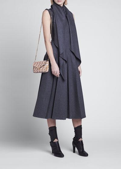 Wrap-Collar Flannel Pleated Midi Dress