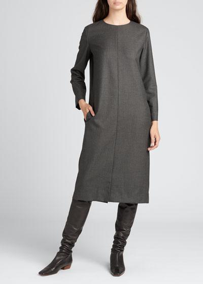 Serena Wool Long-Sleeve Dress w/ Pockets