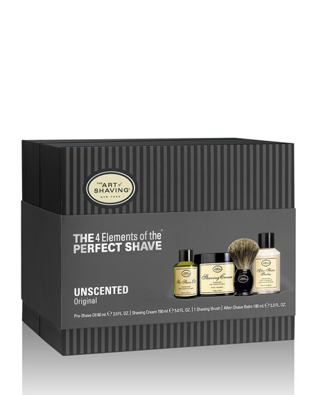 4 Elements Of The Perfect Shave Full-Size Kit, Unscented, Black