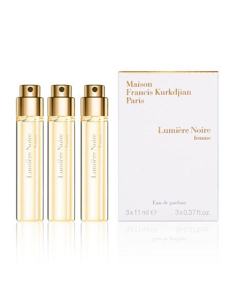 Lumiere Noire femme Eau de Parfum Travel Spray Refills, 3 x 0.37 oz./ 11 mL