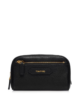 Small Leather Cosmetics Bag, Black
