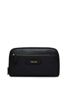Large Leather Cosmetics Bag, Black