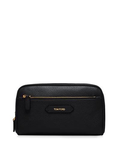 Large Leather Cosmetics Bag, Black