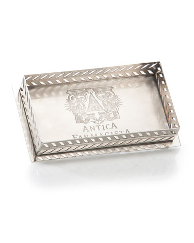 Decorative Tray for Bubble Bath or Bath Salts in Silver Finish