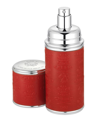 Logo Etched Leather Atomizer, Silver/Red, 1.7 oz./ 50 mL