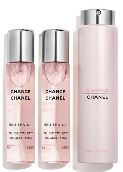 <b>CHANCE EAU TENDRE</b><br> Eau de Toilette Twist & Spray, 3 x 0.7 oz.