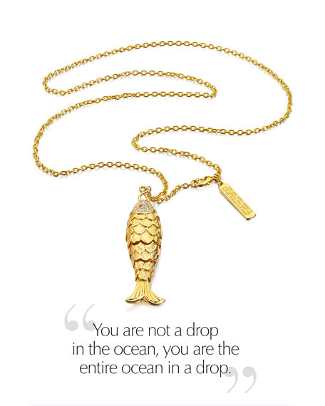 Limited Edition Modern Muse Golden Articulated Fish Necklace. Perfume Compact by Monica Rich Kosann