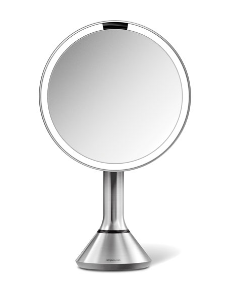 "8"" Sensor Makeup Mirror with Brightness Control, Brushed Stainless Steel"