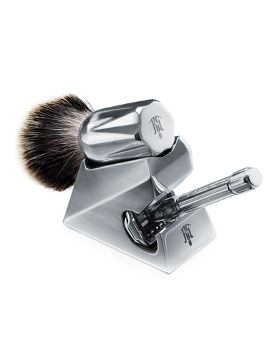 Set of Safety Razor with Lubricant  Brush and Stand