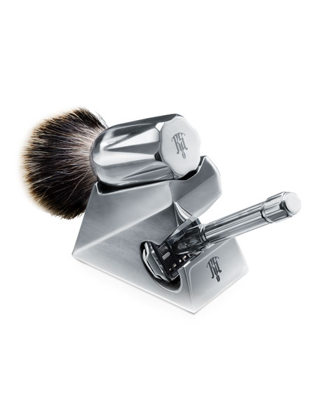 Set of Safety Razor with Lubricant, Brush and Stand