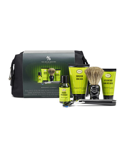 Bergamot & Neroli Travel Shaving Kit w/ Jet Black Morris Park Razor ($166 value)