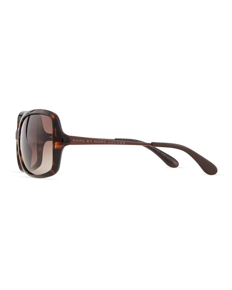 Metal-Arm Oversized Sunglasses