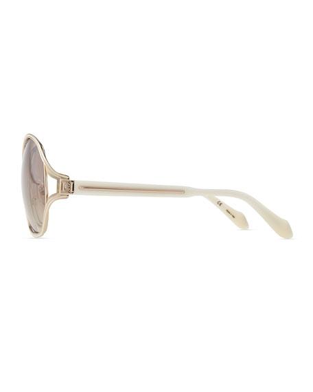 Shiny Metal-Frame Sunglasses