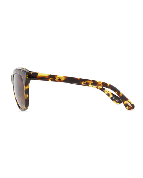 Reigh Semi-Round Sunglasses, Dark Tortoise
