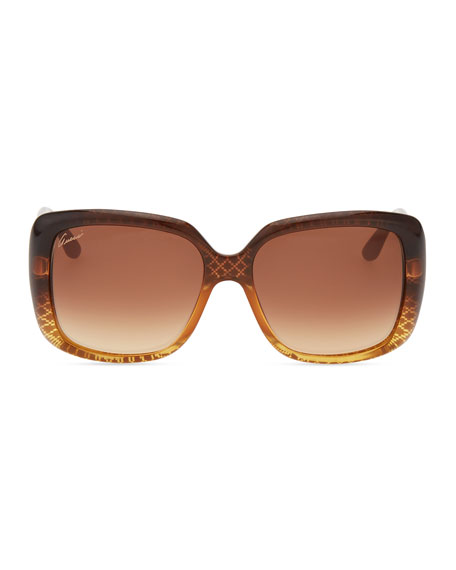 Oversized Square Diamond-Pattern Sunglasses, Cuir