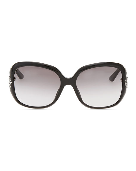 Minuit Crystal-Encrusted Oversized Wrap Sunglasses, Black
