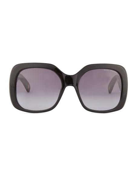 Crystal-Temple Oversized Square Sunglasses, Black