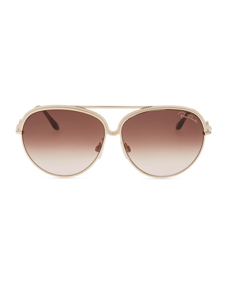 Logo-Temple Aviator Sunglasses, Golden