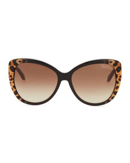 Serpent-Temple Oversized Cat-Eye Sunglasses, Leopard