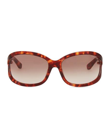 Vivienne Rounded Sunglasses, Purple Havana
