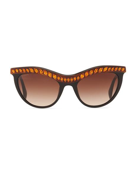 Amber Crystal-Encrusted Cat-Eye Sunglasses, Havana/Black