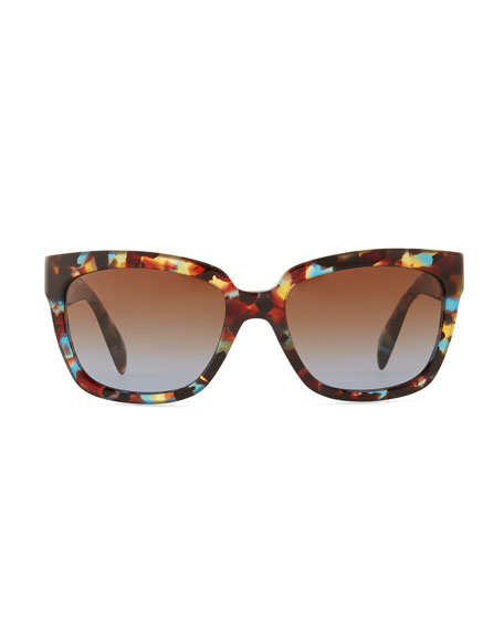 Tortoise Rectangle Sunglasses, Havana Blue