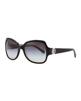 Tory Burch Logo-Temple Rectangle Sunglasses, Black