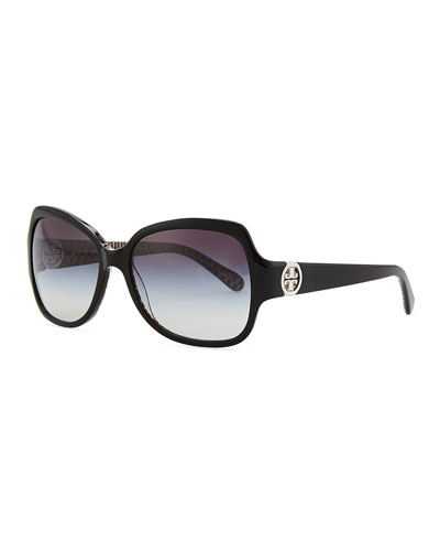 Logo-Temple Rectangle Sunglasses, Black