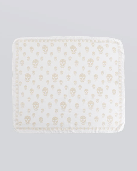 Skull-Print Chiffon Scarf, White/Yellow