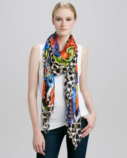Peter Pilotto Printed Eyelash Fringe Scarf, Red Leaf