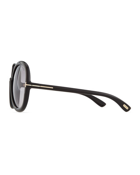 Candice Plastic Butterfly Sunglasses, Shiny Black