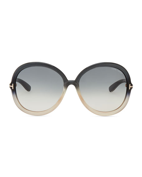Candice Butterfly Plastic Sunglasses, Pearl/Sand