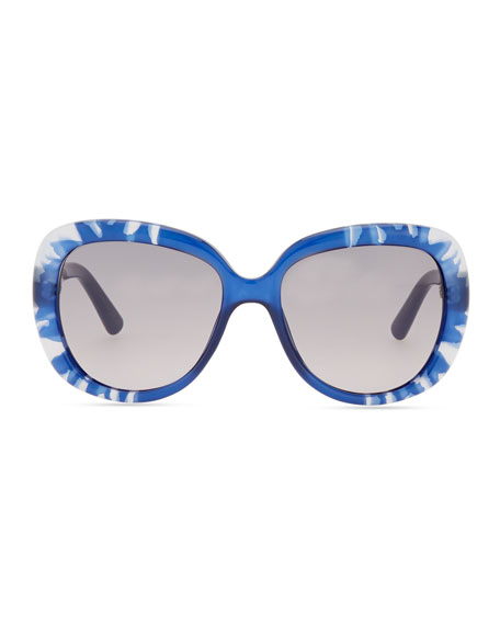 Rounded Flower Sunglasses, Blue